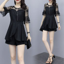 Women's large Summer 2020 black Large XL, large XXL, large XXL, large XXXXL, large L Other oversize styles Two piece set commute Self cultivation thin Socket Short sleeve Solid color Korean version Crew neck Medium length polyester Three dimensional cutting Petal sleeve ZZ7966 Lace stitching shorts