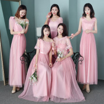 Dress / evening wear Wedding, adulthood party, performance, daily appointment Korean version longuette High waist Spring of 2018 A-line skirt One shoulder zipper polyester 18-25 years old Short sleeve Embroidery Solid color routine machine embroidery