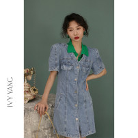 Dress Spring 2021 Snowflake cowboy S,M,L Short skirt singleton  Short sleeve commute V-neck High waist Solid color Single breasted other other Others 18-24 years old Type H Retro Pocket, button 51% (inclusive) - 70% (inclusive) Denim cotton