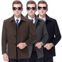 Jacket Oana  Business gentleman Khaki, grey, Navy 165/84A,170/88A,175/92A,180/96A,185/100A,190/104A,195/108A Plush and thicken Extra wide Travel? winter Lapel middle age Single breasted 2019 Straight hem No iron treatment Solid color Woollen cloth Button decoration Side seam pocket wool