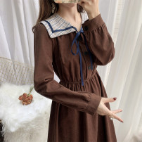 Dress Winter 2020 Red, dark brown S,M,L Mid length dress singleton  Long sleeves commute Doll Collar High waist Solid color Single breasted Princess Dress routine 18-24 years old Type A Other / other literature 51% (inclusive) - 70% (inclusive) corduroy