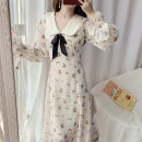 Dress Autumn 2020 Lotus root and apricot color S,M,L longuette singleton  Long sleeves commute Doll Collar High waist Broken flowers zipper Princess Dress Petal sleeve 18-24 years old Type A Other / other lady Frenulum 51% (inclusive) - 70% (inclusive) Chiffon