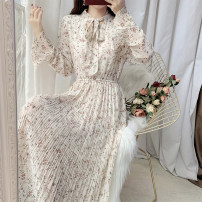 Dress Spring 2021 Apricot flower, apricot flower S,M,L Mid length dress singleton  Long sleeves commute V-neck Elastic waist Broken flowers Socket Pleated skirt Petal sleeve 18-24 years old Type A Other / other literature Frenulum 51% (inclusive) - 70% (inclusive) Chiffon