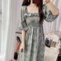 Dress Summer 2020 S,M,L,XL longuette singleton  Short sleeve commute square neck High waist Broken flowers zipper Big swing puff sleeve 25-29 years old Type A Other / other lady Chiffon