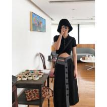 skirt Summer of 2019 S,M,L Black spot Mid length dress commute High waist Type A More than 95% Hollowed out, asymmetric, button
