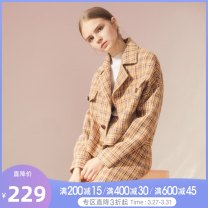 short coat Winter of 2019 S, M Huang Li Ge Long sleeves routine routine singleton  easy routine Single breasted lattice 18-24 years old Tammy Tang / Tangli 96% and above T19DW37026 polyester fiber
