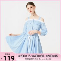 Dress Spring of 2018 Light blue XS,S,M,L Middle-skirt singleton  three quarter sleeve commute One word collar middle-waisted stripe other A-line skirt routine Others 18-24 years old Type X Tammy Tang / Tangli Simplicity Bandage, stitching