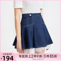 skirt Summer 2020 XS,S,M,L Denim blue Short skirt commute Natural waist Umbrella skirt Solid color 18-24 years old 81% (inclusive) - 90% (inclusive) Denim Tammy Tang / Tangli cotton zipper lady