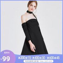 Dress Spring 2017 black XS,S,M,L,XXS Middle-skirt singleton  three quarter sleeve commute other middle-waisted Solid color zipper Big swing routine Breast wrapping 25-29 years old Type X Tammy Tang / Tangli Simplicity T17CQ31469 More than 95% polyester fiber