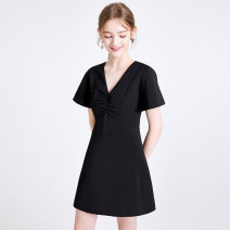 Dress Summer 2020 black XS,S,M,L Middle-skirt singleton  Short sleeve commute V-neck High waist Solid color zipper A-line skirt pagoda sleeve 18-24 years old Type X Tammy Tang / Tangli Simplicity T20XQ34063 81% (inclusive) - 90% (inclusive) polyester fiber