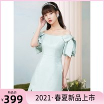 Dress Summer 2021 XS,S,M,L,XL Short skirt singleton  Short sleeve commute One word collar High waist Solid color zipper A-line skirt puff sleeve 25-29 years old Type X Tammy Tang / Tangli lady bow 30% and below polyester fiber