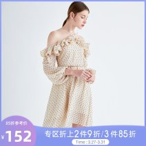 Dress Spring of 2019 Round print XS,S,M,L Mid length dress singleton  Long sleeves commute other High waist Dot Socket Irregular skirt bishop sleeve Hanging neck style 18-24 years old Type X Tammy Tang / Tangli Simplicity Lotus leaf edge T19CQ21561 More than 95% polyester fiber