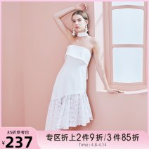 Dress Summer of 2019 white XS,S,M,L Mid length dress singleton  Sleeveless commute One word collar High waist Solid color zipper Irregular skirt other Hanging neck style 18-24 years old Type H Tammy Tang / Tangli Simplicity T19XQ18625 More than 95% polyester fiber