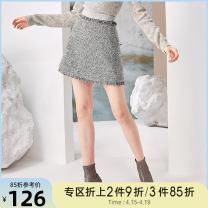 skirt Winter of 2018 XS,S,M,L grey Short skirt commute High waist A-line skirt Type A 18-24 years old More than 95% Tammy Tang / Tangli polyester fiber tassels Simplicity