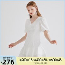 Dress Summer 2020 white XS,S,M,L Short skirt singleton  Short sleeve commute V-neck Ruffle Skirt routine 18-24 years old Type X Tammy Tang / Tangli Simplicity 51% (inclusive) - 70% (inclusive) cotton