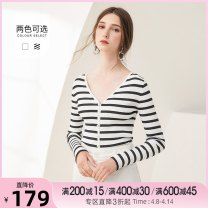 Wool knitwear Autumn of 2019 S, M White, black and white stripe Long sleeves singleton  Socket Viscose 71% (inclusive) - 80% (inclusive) commute Self cultivation V-neck routine Simplicity T19QM24694 18-24 years old Tammy Tang / Tangli
