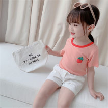 T-shirt Tong Kexing female summer Short sleeve Crew neck Korean version There are models in the real shooting Pure cotton (100% cotton content) strawberry Class B Pink, white 110cm,100cm,90cm,80cm,120cm