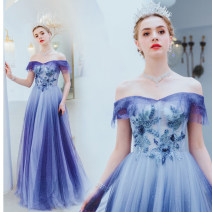 Dress / evening wear Wedding, adulthood, party, company annual meeting, performance XXL,XXXL,XS,S,M,L,XL blue fashion longuette middle-waisted Autumn 2020 Fall to the ground One shoulder Bandage Netting 18-25 years old Short sleeve Embroidery Angel wedding dress 96% and above Hand embroidery