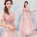 Dress / evening wear Wedding, adulthood, party, company annual meeting, performance XS,S,M,L Pink Sweet longuette middle-waisted Autumn 2020 Self cultivation One shoulder Bandage Netting 18-25 years old Sleeveless Nail bead Angel wedding dress 96% and above Pearl