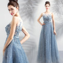 Dress / evening wear Adult ceremony, party, company annual meeting, performance XXL,XXXL,XS,S,M,L,XL Fog blue fashion longuette middle-waisted Autumn 2020 Fall to the ground One shoulder zipper Netting 18-25 years old Sleeveless Embroidery Angel wedding dress 91% (inclusive) - 95% (inclusive)