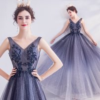 Dress / evening wear Wedding, adulthood, party, company annual meeting, performance XXL,XXXL,XS,S,M,L,XL Night sky blue fashion longuette middle-waisted Autumn 2020 Fall to the ground Deep collar V Bandage Netting 18-25 years old Sleeveless Embroidery Angel wedding dress 96% and above Hand embroidery