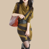 Dress Autumn 2015 S,M,L,XL,2XL,3XL Middle-skirt singleton  Long sleeves commute High collar middle-waisted stripe Socket One pace skirt Bat sleeve Others Korean version Frenulum 81% (inclusive) - 90% (inclusive) knitting Cashmere
