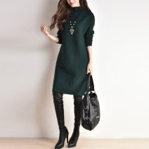 Dress Autumn of 2019 Black, dark green, red, Micah S,M,L,XL,2XL Mid length dress singleton  Long sleeves commute Crew neck Loose waist Solid color Socket routine Fold, thread 51% (inclusive) - 70% (inclusive) knitting wool