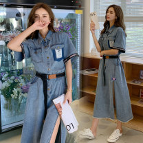 Dress Summer 2021 longuette singleton  Short sleeve street Single breasted other Type X Other / other ZB098B098-Y131 Denim cotton Europe and America S,M,L