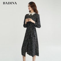 Dress Autumn 2021 Black printing S M L XL Mid length dress singleton  Long sleeves commute Doll Collar High waist Broken flowers Ruffle Skirt Horn sleeve Hanging neck style 30-34 years old Type H Pattina lady Lace up 613U004 More than 95% other polyester fiber Polyester 100%