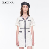 Dress Summer 2020 Benbai XS S M L XL XXL Middle-skirt singleton  Short sleeve commute V-neck middle-waisted stripe Single breasted other routine 25-29 years old Type H Pattina Korean version Stitching buttons 102U276 51% (inclusive) - 70% (inclusive) Lace polyester fiber Polyester 65.4% cotton 34.6%