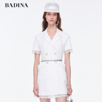 Dress Summer 2020 This is white and black XS S M L XL XXL Middle-skirt singleton  Short sleeve commute tailored collar High waist Solid color double-breasted A-line skirt routine 25-29 years old Type H Pattina Ol style Patchwork lace 102U071 31% (inclusive) - 50% (inclusive) polyester fiber