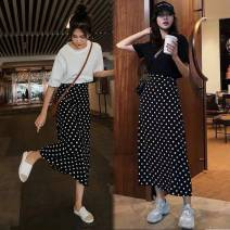 Women's large Summer 2021 Black dot, white dot Large L, large XL, s, m, 2XL, 3XL skirt singleton  Sweet Straight cylinder thin other Three dimensional cutting 18-24 years old Three dimensional decoration 31% (inclusive) - 50% (inclusive) Medium length Princess Dress Ruili