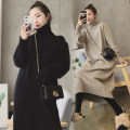Dress Winter 2020 Black, dark gray, off white, khaki Small, large longuette singleton  Long sleeves commute High collar Elastic waist Solid color Socket other routine Others Type H Love yu'er Korean version Pig collar 51% (inclusive) - 70% (inclusive) brocade wool