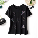 Women's large Summer 2021 black Large L, large XL, 2XL, 3XL, 4XL T-shirt singleton  commute easy moderate Socket Short sleeve Cartoon animation Korean version Crew neck routine cotton Three dimensional cutting routine Beauty trends 25-29 years old Diamond inlay 51% (inclusive) - 70% (inclusive)