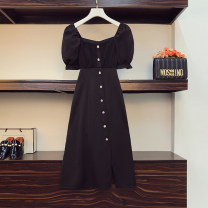 Women's large Summer 2021 black Large L, large XL, 2XL, 3XL, 4XL Dress singleton  commute easy moderate Socket Short sleeve Solid color Korean version square neck Three dimensional cutting routine Beauty trends 25-29 years old Button 96% and above Medium length