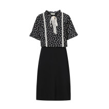 Women's large Summer 2021 black Large L, large XL, 2XL, 3XL, 4XL, 5XL Dress singleton  commute easy moderate Socket Short sleeve Dot Crew neck Three dimensional cutting routine Beauty trends 25-29 years old Three dimensional decoration 51% (inclusive) - 70% (inclusive) Medium length
