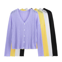 Women's large Summer 2021 Black, white, purple, yellow Large XL, 2XL, 3XL Knitwear / cardigan singleton  commute easy moderate Cardigan Long sleeves Solid color Korean version V-neck routine Three dimensional cutting routine Beauty trends 25-29 years old Button 71% (inclusive) - 80% (inclusive)