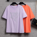 Women's large Summer 2021 Purple, orange Large L, large XL, 2XL, 3XL, 4XL, 5XL T-shirt singleton  commute easy moderate Socket Short sleeve letter Korean version Crew neck routine cotton Three dimensional cutting routine Beauty trends 25-29 years old Diamond inlay 96% and above