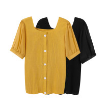Women's large Summer 2021 Black, yellow Large XL, 2XL, 3XL T-shirt singleton  commute easy moderate Socket Short sleeve Solid color square neck routine Three dimensional cutting routine Beauty trends 25-29 years old Button 31% (inclusive) - 50% (inclusive)