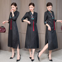 Dress Summer 2020 black M,L,XL,2XL,3XL Mid length dress singleton  three quarter sleeve commute V-neck middle-waisted Solid color Socket A-line skirt routine Others Type A Retro Tassels, embroidery, beads, slits More than 95% polyester fiber