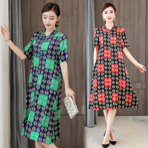 Dress Summer 2020 Red, green L,XL,2XL,3XL,4XL Mid length dress singleton  Short sleeve commute stand collar Loose waist Decor Single breasted A-line skirt routine Others Type A Button, print More than 95% polyester fiber