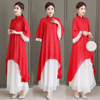 Fashion suit Summer 2020 M,L,XL,2XL,3XL Red coat, white trousers 96% and above polyester fiber