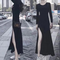 Dress Autumn of 2018 black XS,S,M,L,XL,2XL,3XL,4XL,5XL longuette singleton  Long sleeves commute Crew neck Elastic waist Solid color Socket A-line skirt routine Others 25-29 years old Type A Korean version J180827B 31% (inclusive) - 50% (inclusive) other modal