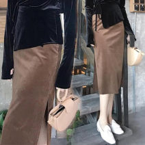 skirt Autumn of 2018 XS,S,M,L,XL,2XL,3XL,4XL,5XL Black, brown Mid length dress Versatile High waist skirt Solid color Type H 25-29 years old J180828A 31% (inclusive) - 50% (inclusive) other polyester fiber