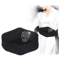 Belt / belt / chain cloth black female Waistband Versatile Single loop Middle age, youth, youth Smooth button Diamond inlay soft surface alloy