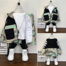 suit Happy little guest 90cm,100cm,110cm,120cm,130cm,140cm,150cm male spring and autumn Korean version Long sleeve + pants 2 pieces routine No model Zipper shirt nothing camouflage cotton children Expression of love Class B Two, three, four, five, six, seven, eight, nine Chinese Mainland Huzhou City