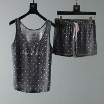 Pajamas / housewear set female Other / other S,M,L,XL Pink + leopard pants, dark grey Polka Dot suit, grey stripe suit, pink stripe suit, grey bicycle, pink flower Polyester (polyester)