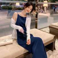 Dress Summer 2021 royal blue XS,S,M,L longuette singleton  Long sleeves commute Crew neck High waist Solid color zipper routine 25-29 years old Type A 30% and below other other