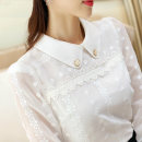 Lace / Chiffon Autumn of 2019 white S,M,L,XL,2XL Long sleeves commute Socket singleton  Straight cylinder Doll Collar Solid color shirt sleeve Stitching, lace