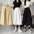 skirt Summer 2021 S,M,L Black, white, yellow Mid length dress commute High waist A-line skirt Solid color Type A 71% (inclusive) - 80% (inclusive) cotton Pockets, folds